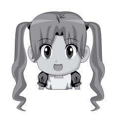 Cute cartoon anime little girl chibi character vector