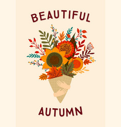cute with autumn bouquet vector image