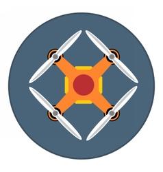 Digital orange drone with recording camera vector image