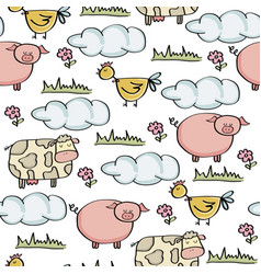 doodle seamless pattern with animal farm vector image