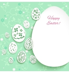 Easter eggs on green background vector