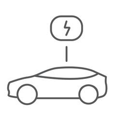 eco car thin line icon ecology and vehicle vector image