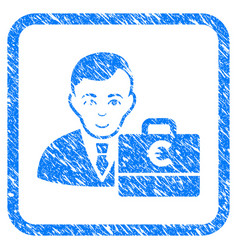 Euro accounter framed stamp vector