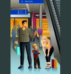 family going shopping vector image