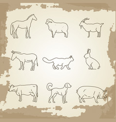 Farm animals thin line icons vector