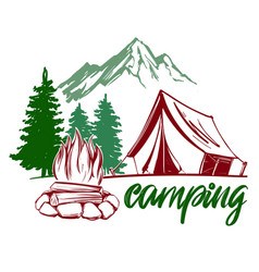 Fire emblem rest in the forest camping hand vector