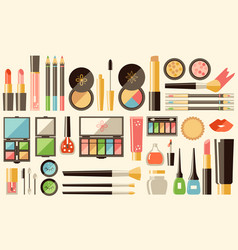 Flat cosmetics set beauty fashion products vector
