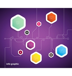 Flat design template with hexagon shape bubbles vector image
