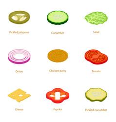 Food ingredient icons set isometric style vector