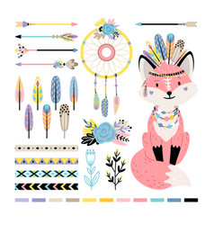 Fox with feathers and arrows vector