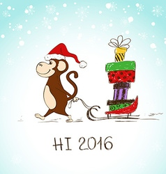 Funny Monkey With Sledge Full Of Presents vector