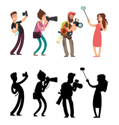 funny professional photographer with camera photo vector image