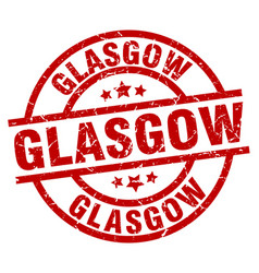 Glasgow red round grunge stamp vector
