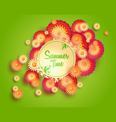 Green background with floral frame and vector