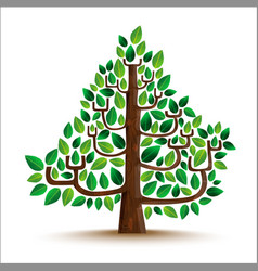 green tree nature in hand drawn style vector image