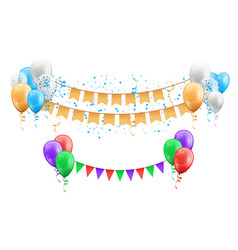group balloons with hanging flags and confetti vector image