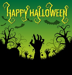 Halloween text with zombies hand vector image