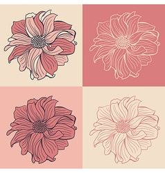 Hand-drawn flowers of dahlia set of four vector