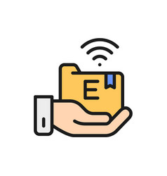 hand holds e-learning folder flat color line icon vector image