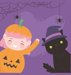 happy halloween pumpkin girl with cat costume vector image