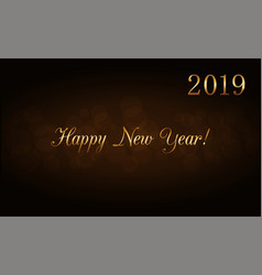 happy new year gold text in frame holiday vector image