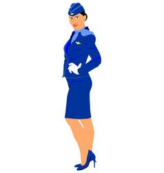 happy stewardess in blue formal wear smiling vector image