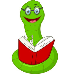 happy worm cartoon reading book vector image