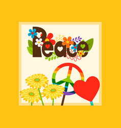 Hippie style peace symbol card vector