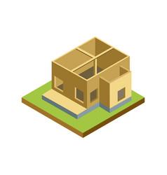House framework isometric 3d icon vector