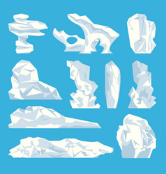 ice iceberg hard frozen water icons set vector image