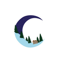 image of the moon and the forest vector image