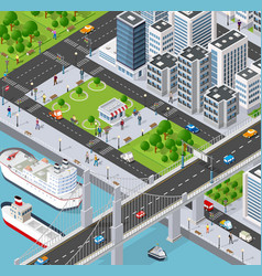 isometric 3d city with river vector image