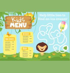 Kids food menu design template vector