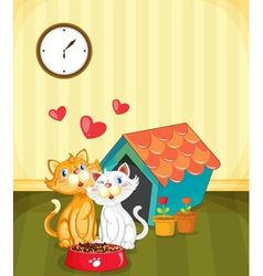 Kittens in love vector image