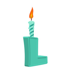 letter l birthday font letter and candle vector image