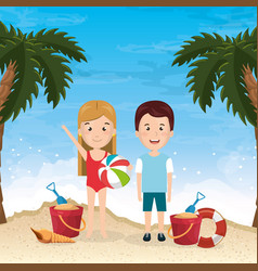 Little kids in the beach summer vacations elements vector