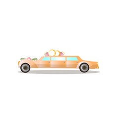long gold color just married limousine with vector image