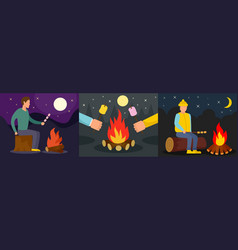 marshmallow bonfire banner concept set flat style vector image