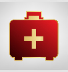 Medical first aid box sign red icon on vector