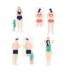 Men and women dressed in underwear looking vector