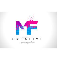 Mf m f letter logo with shattered broken blue vector