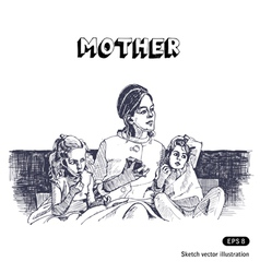 Mother with two children sitting on a sofa vector image