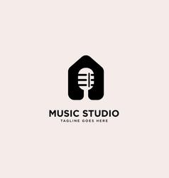 Music studio logo template vector