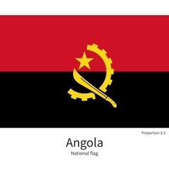 National flag of angola with correct proportions vector