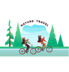 Nature travel concept people in bike vacation vector