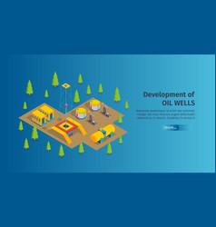 oil wells development banner vector image