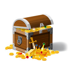 Old pirate chest full of treasures gold coins vector