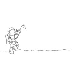 One single line drawing spaceman playing trumpet vector