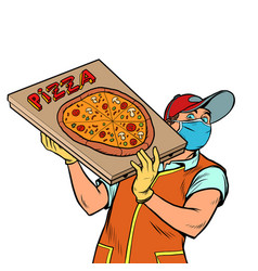 pizza delivery guy in a medical mask vector image