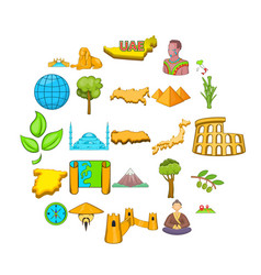 planet earth icons set cartoon style vector image
